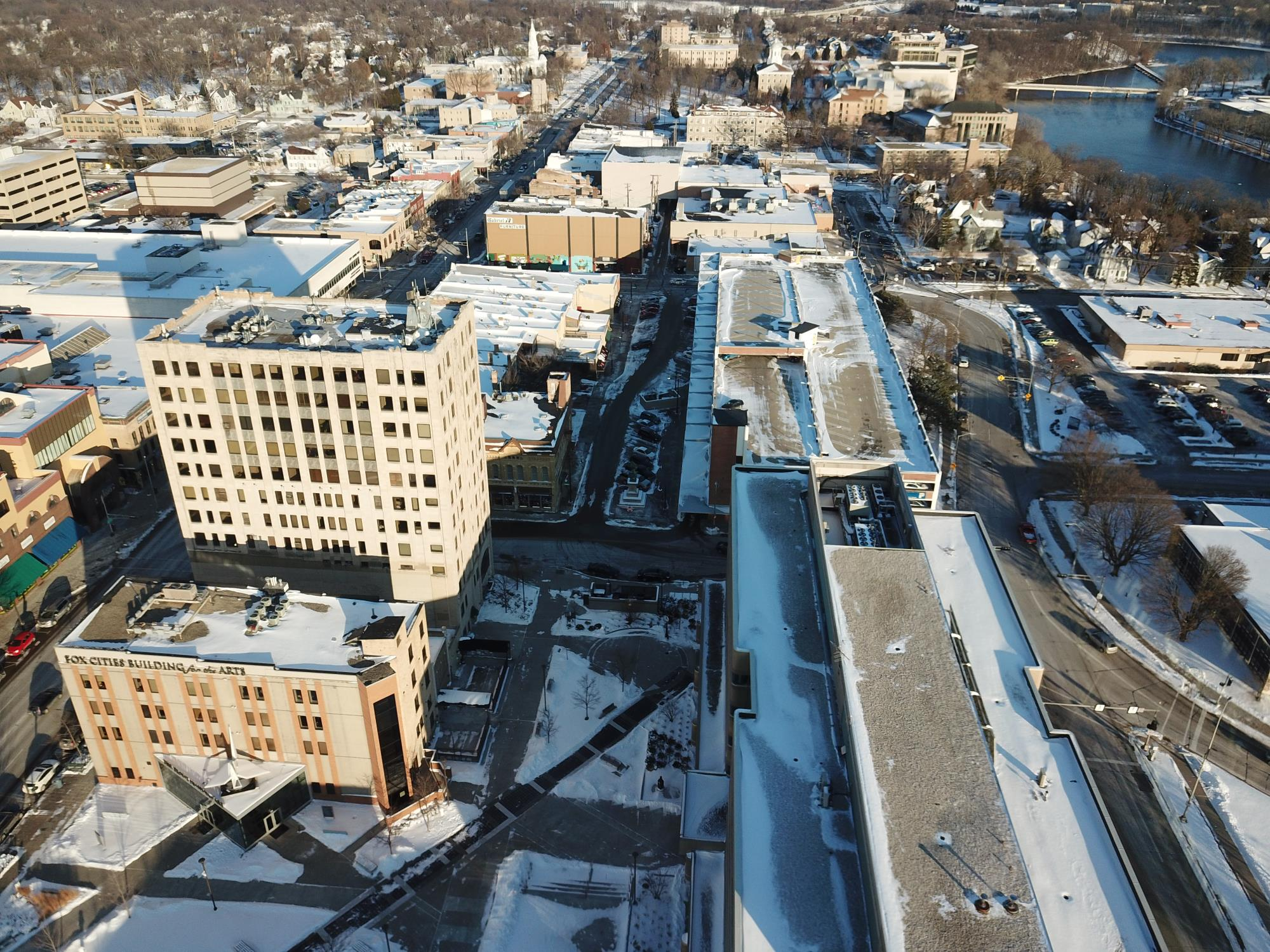 Drone shot of downtown facing east in winter