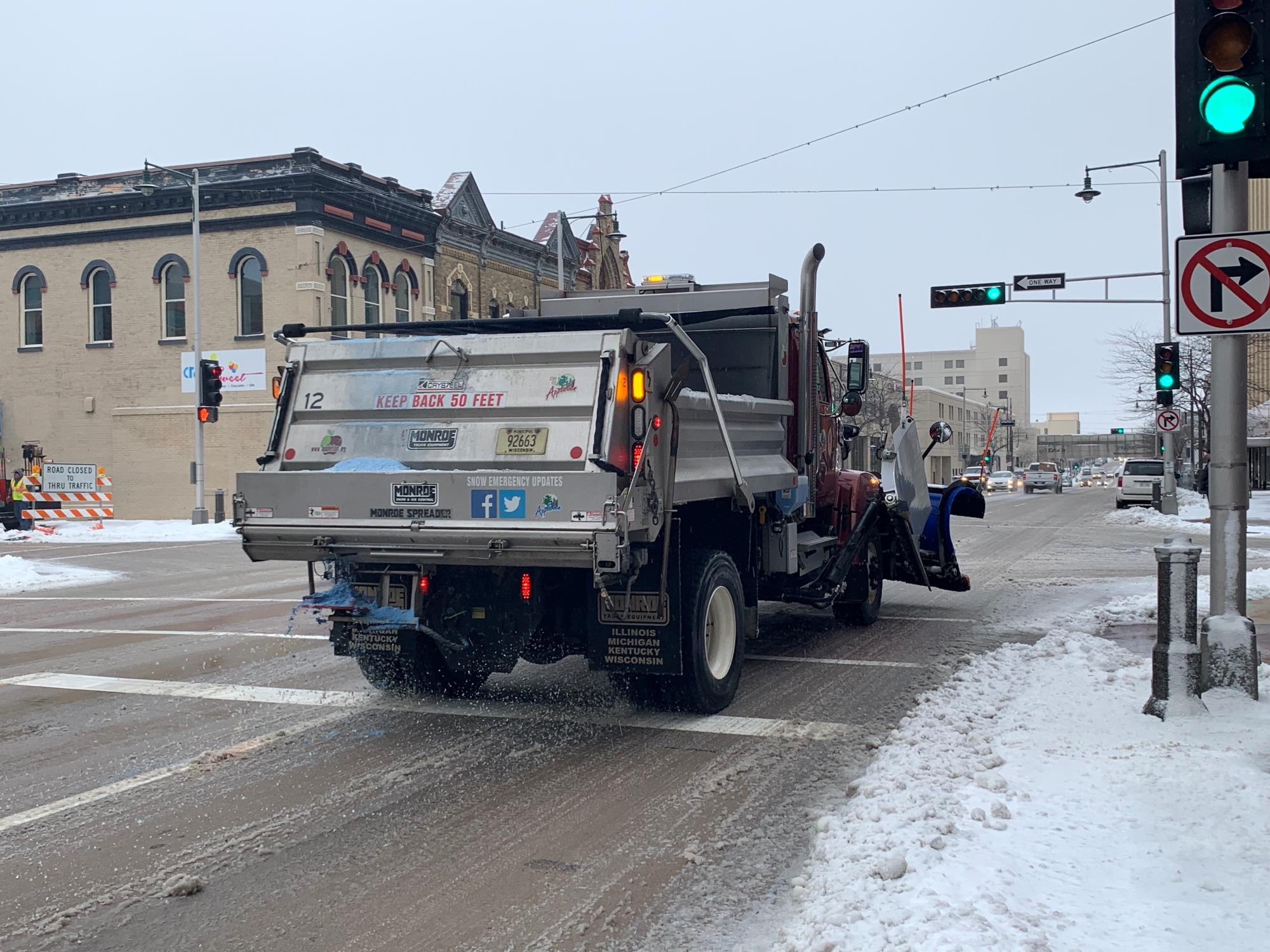 plow from behind salting on college